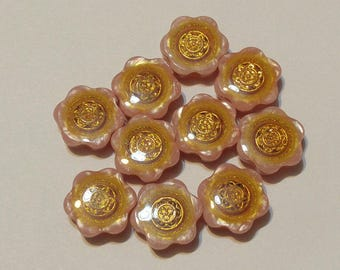 10 PinkColored - Flower Button- Resin Button - Gold Centre- Button - #R-00176