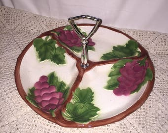 Maddux of California Divided Serving Dish; 1960s 3 Divided Serving/Nut/Condiment Dish; Vintage Serving Grape Designed
