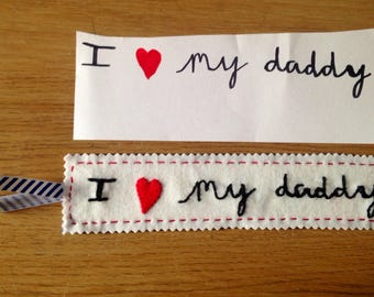 Father's Day personalised bookmark 'I love my Daddy'