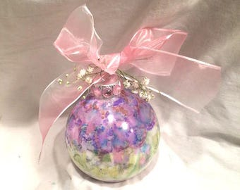 Hand Painted  Ornament Pale Green Purple Pink Alcohol Ink Pink Bow Rhinestone Babies Breath Top, One of a Kind, Gift Under 15