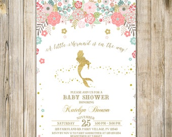 MERMAID BABY SHOWER Invitation, Floral Gold Pink Baby Sprinkle Invite, A Little Mermaid Baby Girl Shower Invites, Magical Under the Sea LA23