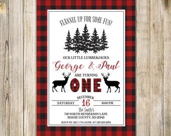 DEER BIRTHDAY Invite, LUMBERJACK First Birthday Invitation, Deer Twins 1st Birthday, Lumberjack Twin Birthday, Buffalo Plaid, Twin Boys