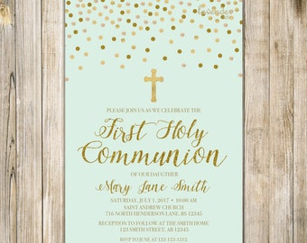 FIRST HOLY COMMUNION Invitation, Baby First Communion, Holy Communion Invite, Baby Christening Invites, Mint and Gold, Mint Green, LA20