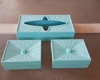 Vintage Turquoise Starburst Kleenex Box Bathroom Accessory Storage Set Containers with Lids