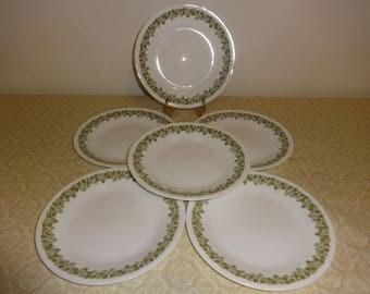 6 Corelle Cake Plates Spring Blossom Green