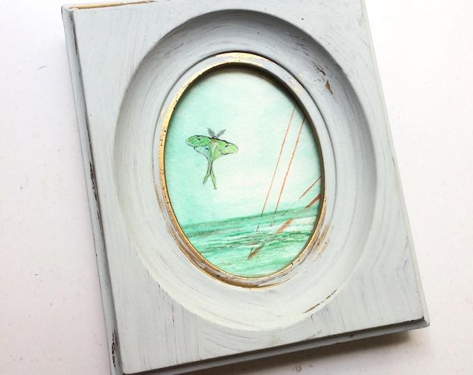 Moonsong / tiny original watercolor + ink painting in grey + gold thrift store frame / lunar moth art / sea art / symbolic art
