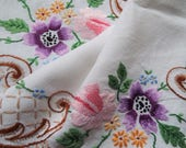 Vintage linen tray cloth or tablecloth. 1950s English tea tray cloth with hand embroidery pink roses and flowers. Perfect for a tea party