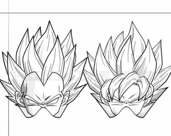 Coloring Pages Dragon Ball Z Party Printable Black And White Line Art Masks Kids Costume
