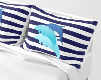 Dolphins Pillow Striped Navy White Throw Case or and Insert 16x16 18x18 20x20  Decor Home Animals Sea Blue Beach Apartment Coastal Fish Gift