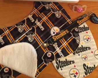 Baby Bib & Burp Cloth Gift Set; Pittsburg Steelers Bib, 2 Burp Cloths, Pacifier Clip, Available in 2 Bib Fabric Styles!