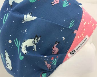 Coyotes Surgical Cap Scrub Hats for Women Bouffant European Euro Style scrub hat Surgery Medical Tech Caps Blue LoveNstitchies Cactus Bunny
