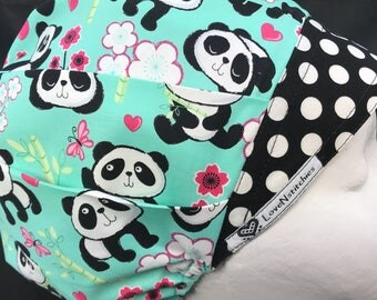 Panda Surgical Cap Scrub Hats for Women bouffant Scrub Tech Nurse OR Surgery Resident Xray Surgeon AOII Black dots LoveNstitchies Aqua