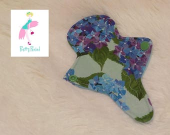 """7"""" Thong Liner Floral Jersey CSP Cloth pad (2"""" snapped) thin discrete fleece back daily liner"""