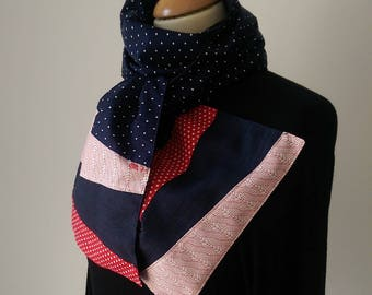 Scarf fabric and Navy with white polka dots Red