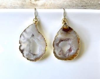 Geode Earrings - Agate Druzy Quartz Crystals