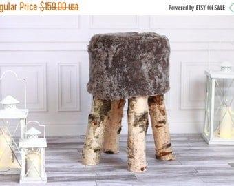 ON SALE Sheepskin stool   Birch Tree Stool   Wood Stool   Fur Stool   Dressing Stool   Wooden Stool   Scandinavian Stool