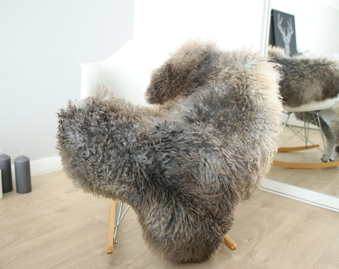 Genuine Rare Gotland Sheepskin Rug - Curly Fur Rug - Natural Sheepskin - Gray Brown  Sheepskin #FEBGOT23