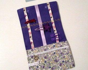 Pouch/Pocket barrettes and purple floral cotton elastic / purple