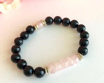 Rose Quartz Black Onyx Bracelet, Yoga Bracelet,Protection Bracelet, Wellness Bracelet, Gifts for Her, Gemstone Bracelet, Birthday Gift Idea