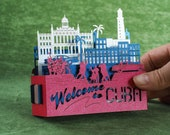Cuba card pop-up paper 3d cards paper art kirigami origami Welcome to Cuba Landmarks Symbols Cuba Travel the World Birthday Gift Custom card