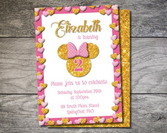 Minnie Mouse Birthday Invitation, Pink and Gold Minnie Invite, Minnie 2nd Birthday Invite, Minnie Mouse Birthday, Pink and Gold Sparkle