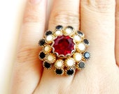 Vintage Stacked Rhinestone Ring - Prong Set Stones - Black White Red - Milk Glass - Faux Ruby - Adjustable Ring - Cocktail Statement - Large