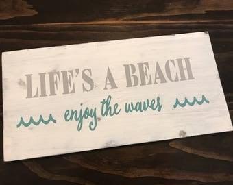 Life's A Beach Wood Sign