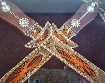 AWESOME RARE Mid Century Vtg double dagger wire art shadow box wall hanging!!!