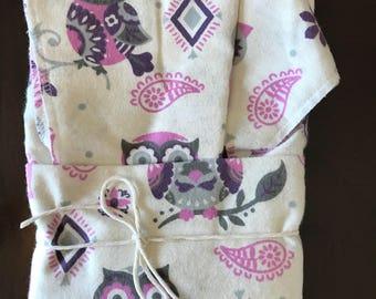 Owl Oversize Swaddle Blanket and Burp Cloth Set