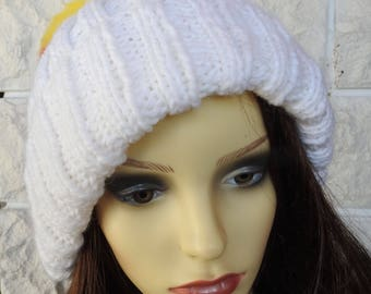 Hand Knitted Women's Two Style White Winter Hat With A pompom In The Colours Of The German Flag - Free Shipping