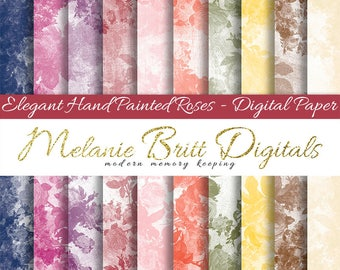 SHABBY ROSES digital paper, hand painted elegant rose papers, 12x12 digital papers, scrapbook paper, digital paper pack, printable papers