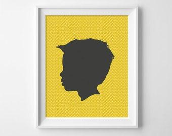 CUSTOM Silhouette - Child Silhouette - Personalized Portrait - Silhouette Portrait - Kids Silhouette - Printable Silhouette - BOY