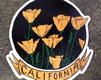 California Poppy Die-Cut Sticker