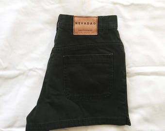 Vintage High-Waisted Black Denim Shorts // size 6-8 // women's, cut-off, 90s, cotton, booty shorts