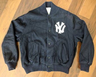 Vintage Plain Blue/White New York Yankees Logo MLB Wool Button-up Lined Jacket, Men's Size XXL, Made by Empire