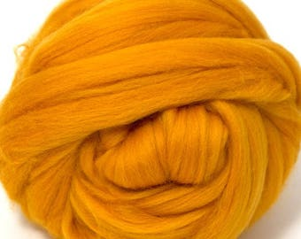 Merino Wool Combed Top/Roving by the Ounce or by the Pound - Marigold
