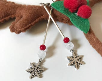 Snowflake earrings, Christmas earrings, snow earrings, winter earrings, glass earrings