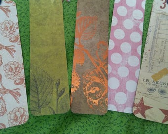 Set of 5 Handmade Paper Bookmarks with Different Topper Adornments
