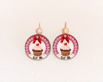 Earrings sleepers bronze cabochon motives cupcake red tones