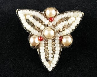 Vintage Beaded Pin, Brooch, Cloth Backed, Metal