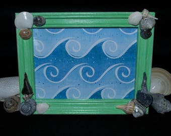 Emerald Green Sea Shell Distressed Painted Wood Picture Frame