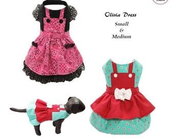 Olivia Dog Dress SMALL & MEDIUM, Dog Clothes Sewing Pattern PDF, Digital Dog Harness Sewing Pattern, Pet Tutorial and Sewing Pattern