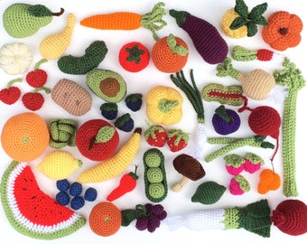 Crochet Fruit and Vegetable Play Toy Selection   Crochet Fake Food Kitchen, Farmers Market, or Grocery Store Toys