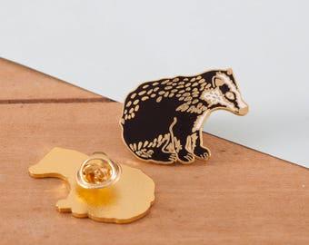 British Badger Enamel Pin   Pin Badge   Hard Enamel Pin   Gold Enamel Pin   Lapel Pin   Badger Pin   British Wildlife   British Nature