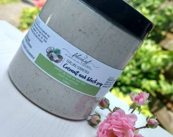 Coconut and black soap body scrub 230ml