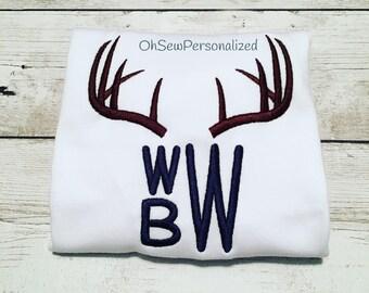 Deer Antler Monogram Shirt / Deer Antler Monogram Onesie / Deer Antler Monogram / Deer Antler Shirt / Deer Antler Boy Monogram Shirt