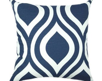 SALE Premier Prints Emily Navy Blue and White Modern Ogee Geometric Home Decor Decorative Throw Pillow Cover