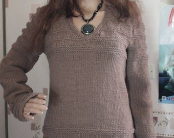knit, sweater, women, taupe, hand knitted