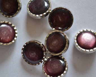 set of 8 silver fancy buttons