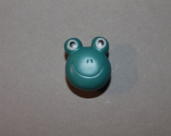 fancy sewing down, button, Blue Frog